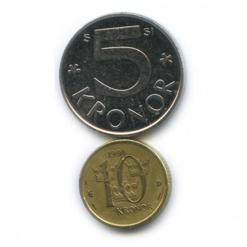 Набор монет 5 крон, 10 крон 1991, 2008 (Швеция)