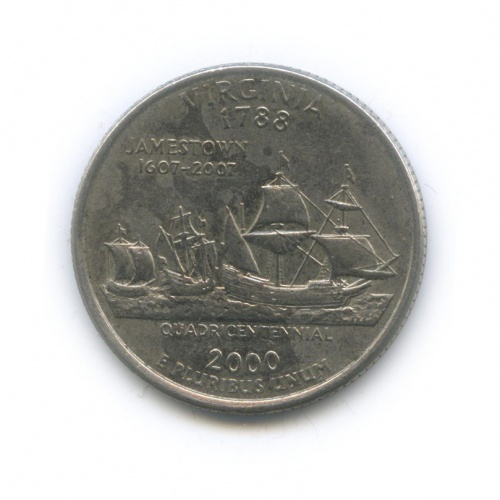25 центов (квотер) — Квотер штата Вирджиния 2000 года D (США)