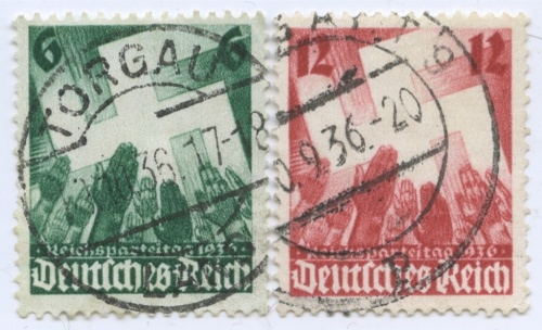 Набор почтовых марок «Партийный съезд вНюрнберге» (полная серия) 1936 года (Германия (Третий рейх))