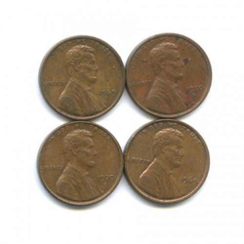 Набор монет 1 цент 1969, 1970 (США)