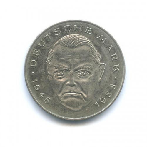 2 марки — Людвиг Эрхард, 40 лет Федеративной Республике (1948-1988) 1989 года J (Германия)