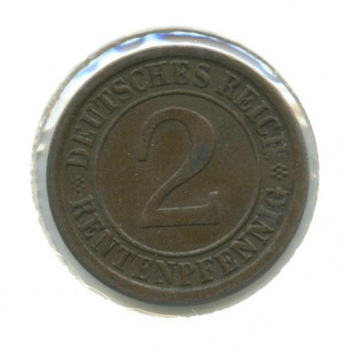 2 рентенпфеннига (в холдере) 1924 года A (Германия)