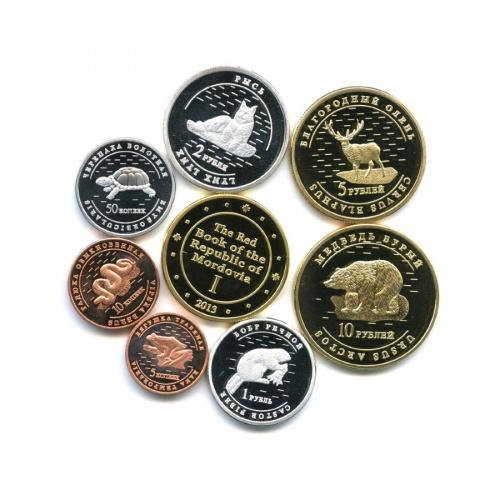 Набор монетовидных жетонов «Животные», Республика Мордовия 2013 года