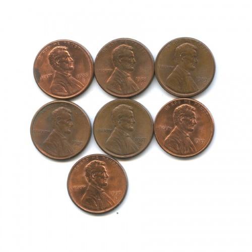 Набор монет 1 цент 1987-1990 (США)