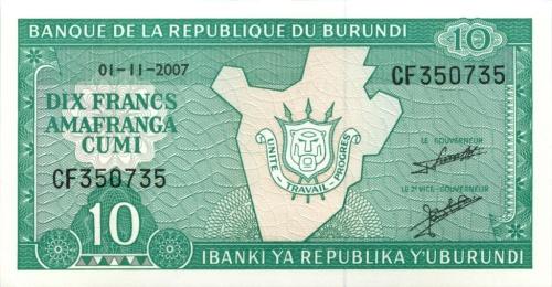 10 франков - Республика Бурунди 2007 года