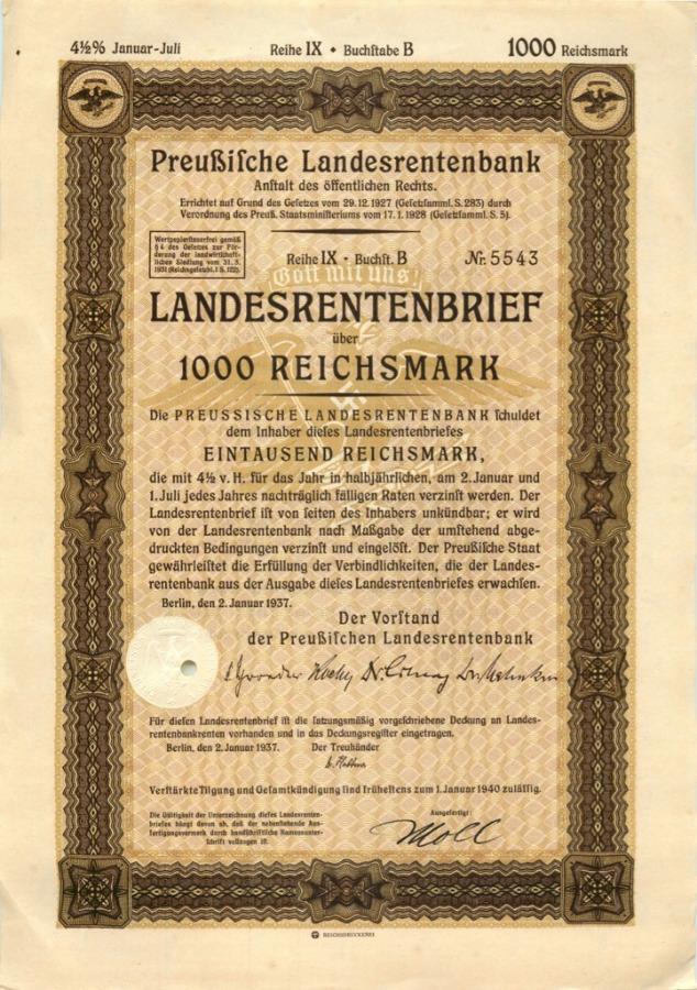 1000 рейхсмарок 1937 года (Германия (Третий рейх))