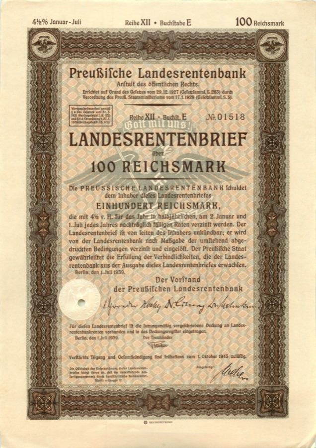 100 рейхсмарок 1939 года (Германия (Третий рейх))