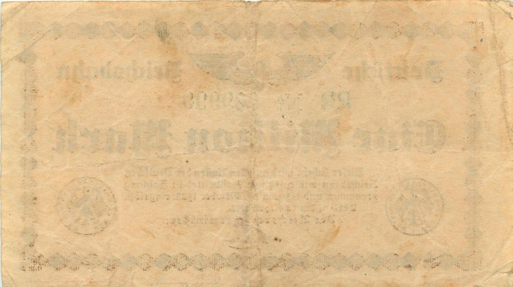 1 миллион марок (Берлинская железная дорога) 1923 года (Германия)