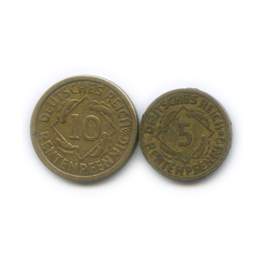 Набор монет 5, 10 рентенпфеннигов 1924 года А (Германия)