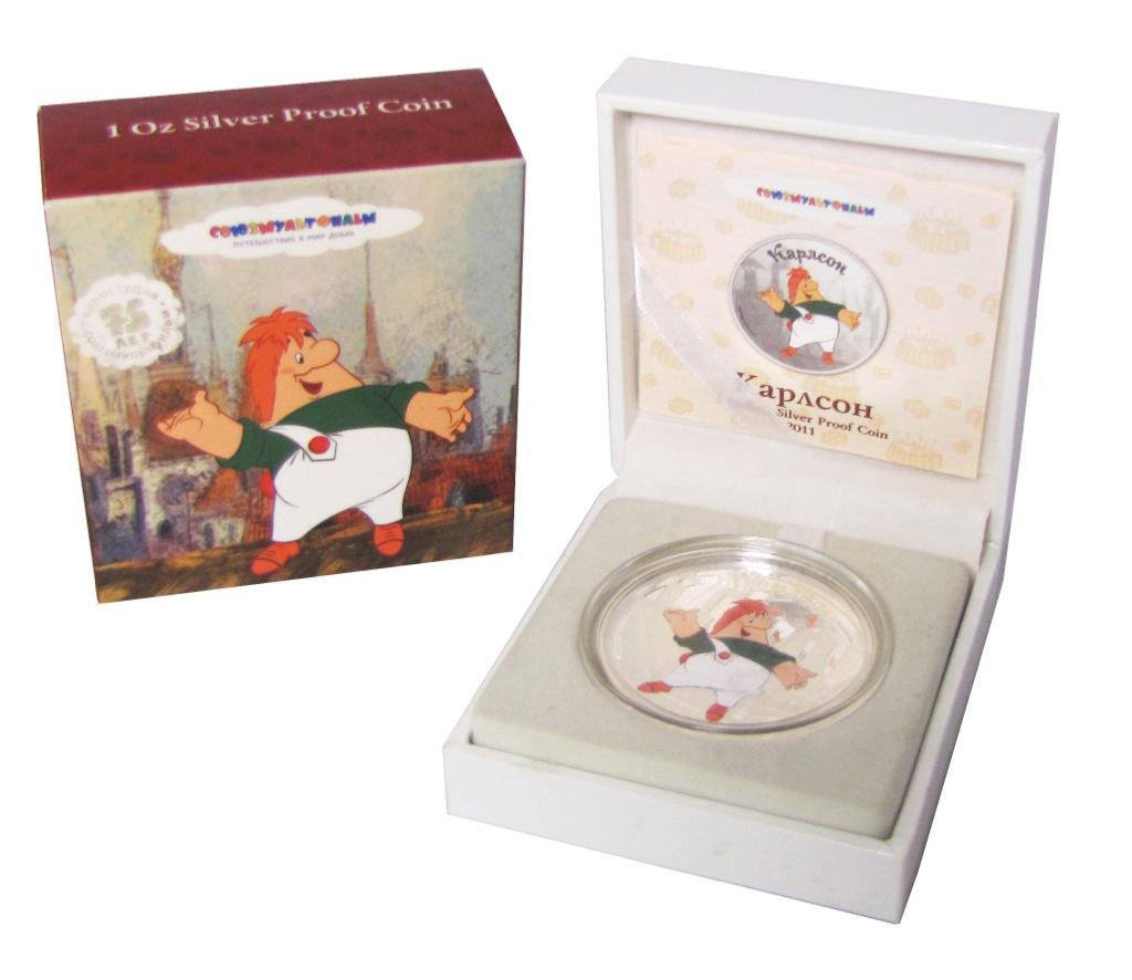 5 долларов «Союзмультфильм 75 лет» - «Карлсон», воригинальной коробке, ссертификатом подлинности, Острова Кука 2011 года