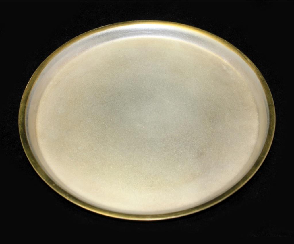 Поднос (мельхиор спозолоченным кантом, клеймо, 15 см)