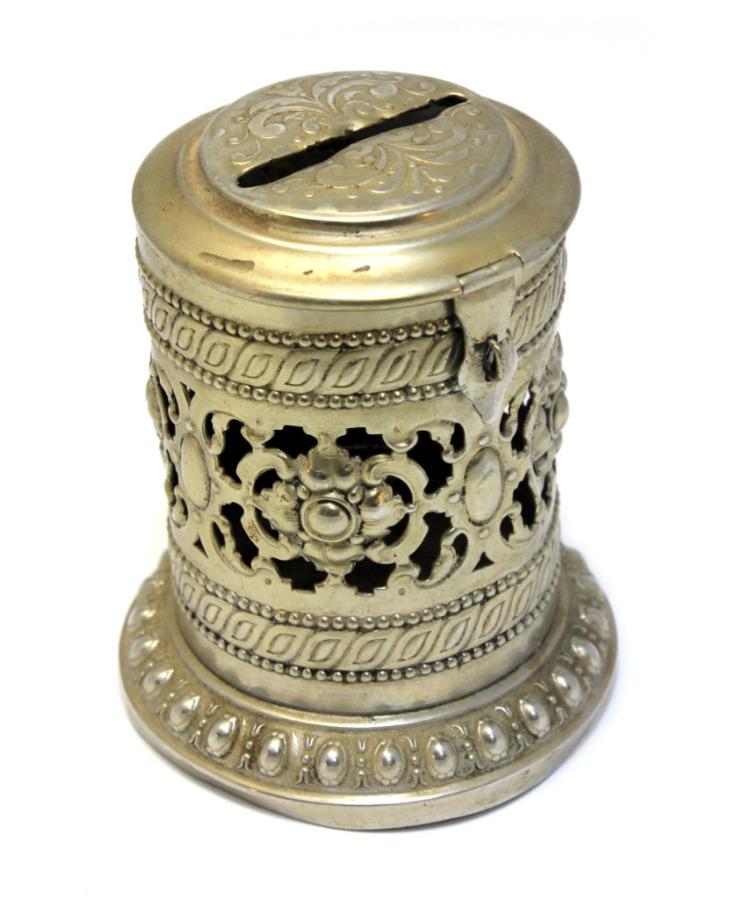 Копилка (латунь, серебрение, клеймо, 9 см) (Российская Империя)