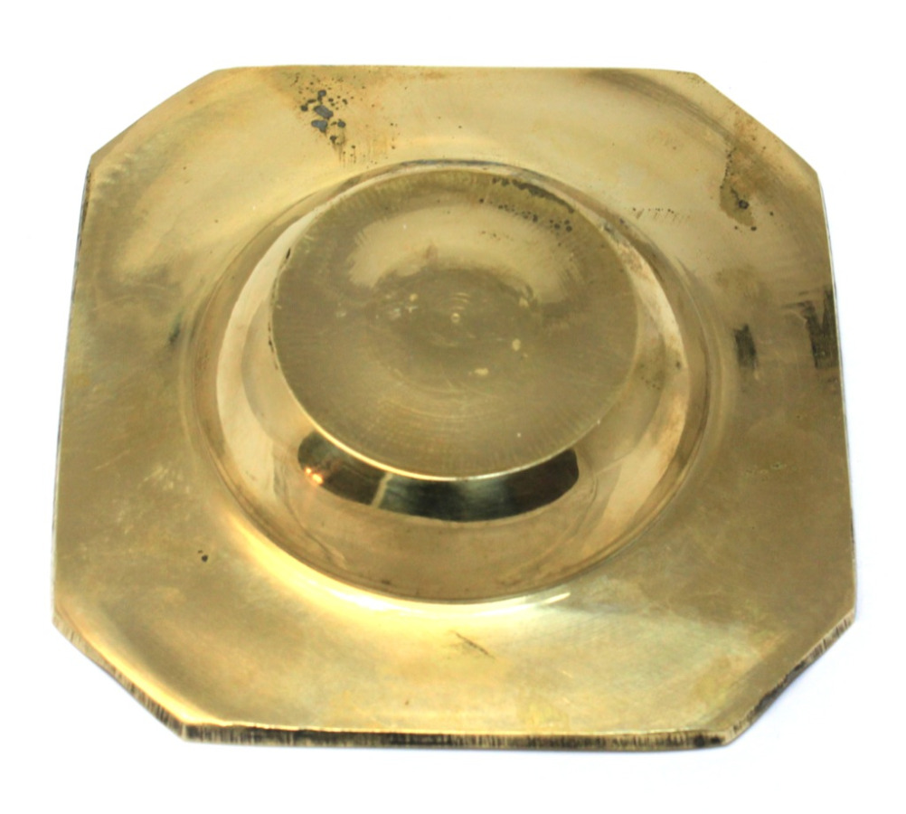 Пепельница (латунь, перламутр, тяжелая, 9,5 см)