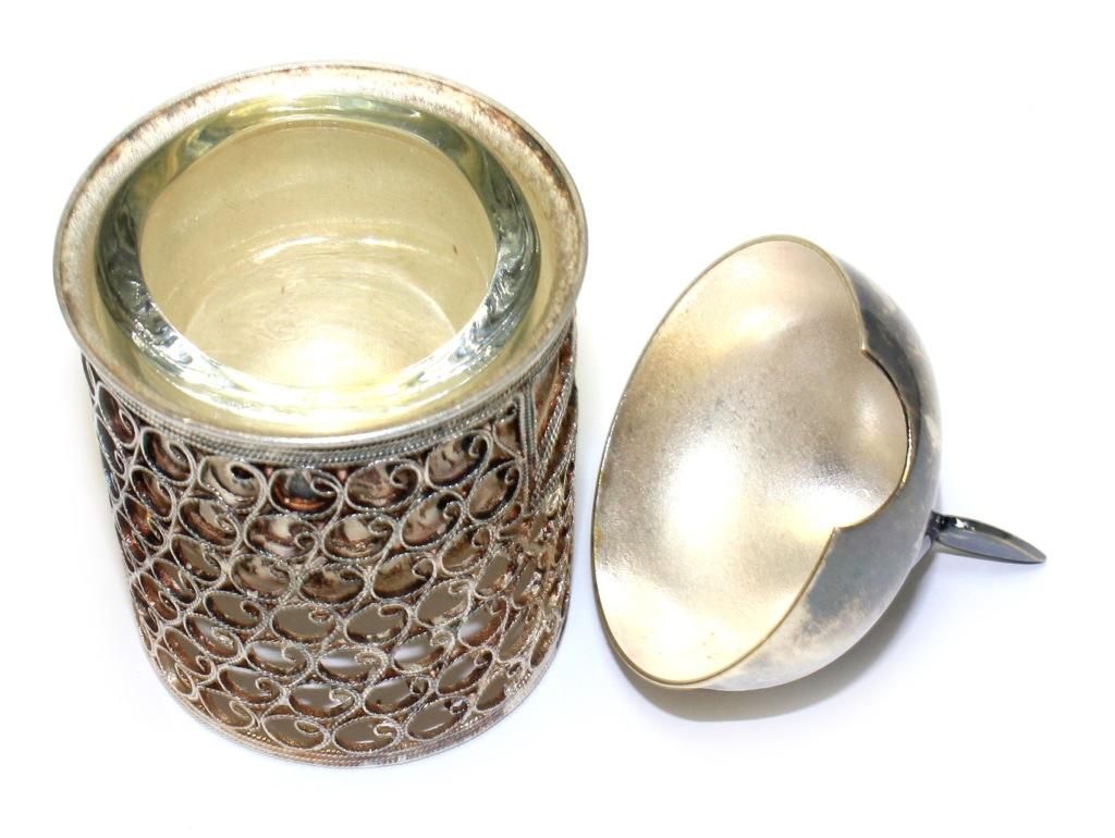 Солонка «Богатырь» (мельхиор, скань, чаша - стекло, 9,5 см)