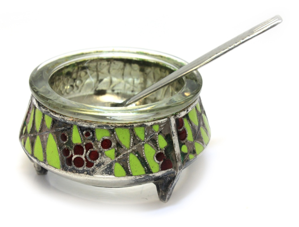 Горчичница сложечкой (мельхиор, клейма, горячая эмаль, диаметр 5,5 см) (СССР)