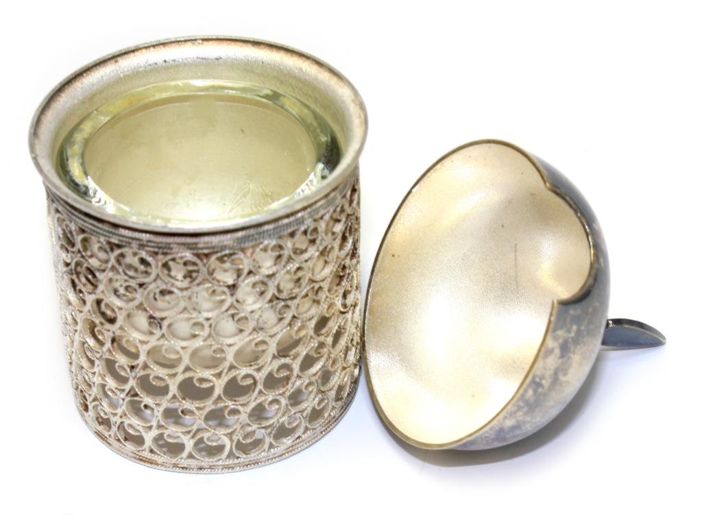 Перечница «Богатырь» (мельхиор, скань, чаша - стекло, 9 см)