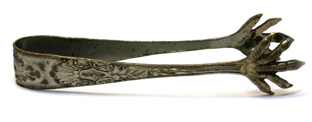Щипцы для сахара «Лапы орла» (латунь, серебрение, до1917 г., 10,5 см)