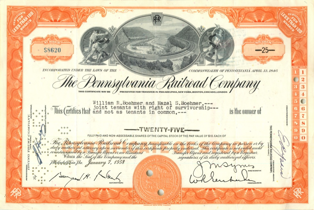 25 акций («The Pennsylvania Railroad Company») 1958 года (США)
