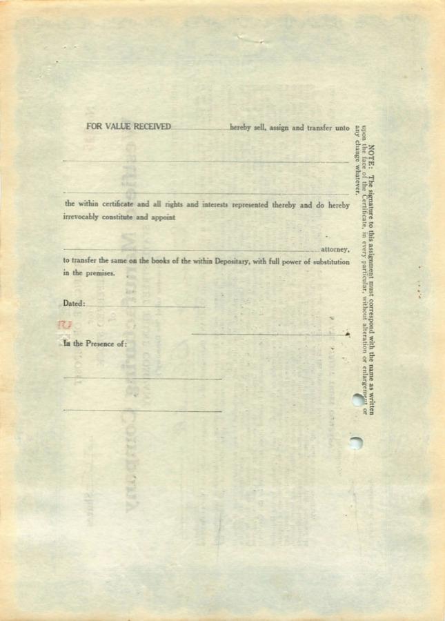 5 акций («Westfield Manufacturing Company») 1929 года (США)