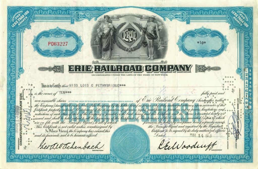 10 акций («Erie Railroad Company») 1949 года (США)