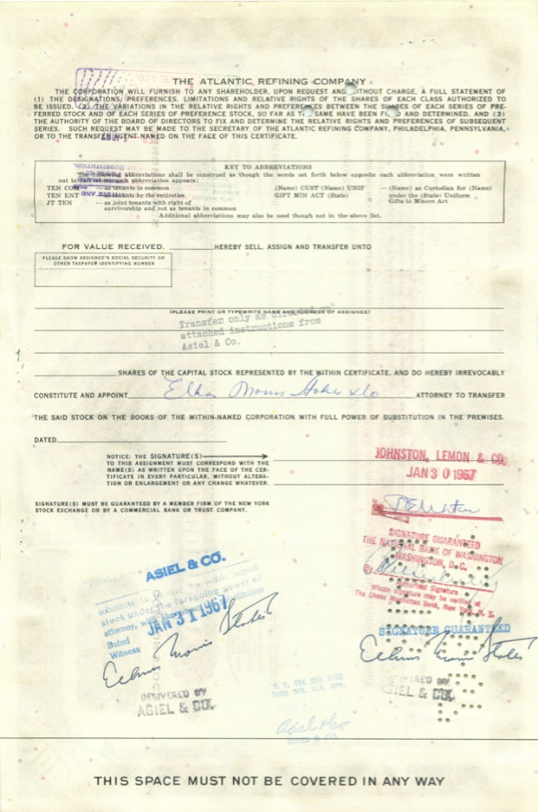 100 акций («The Atlantic Refining Company») 1967 года (США)