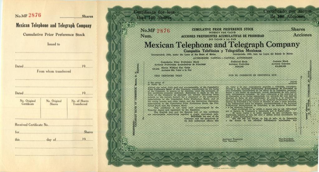 100 акций («Mexican Telephone And Telegraph Company») (США)
