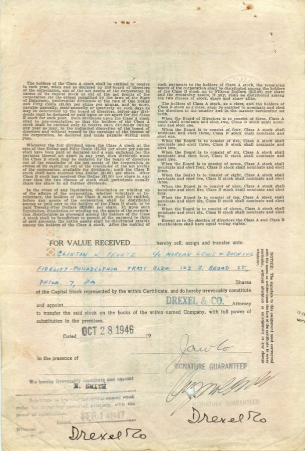 2 акции («American Locker Company, Inc») 1946 года (США)
