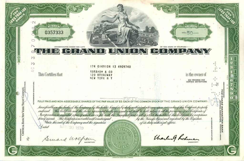 50 акций («The Grand Union Company») 1970 года (США)