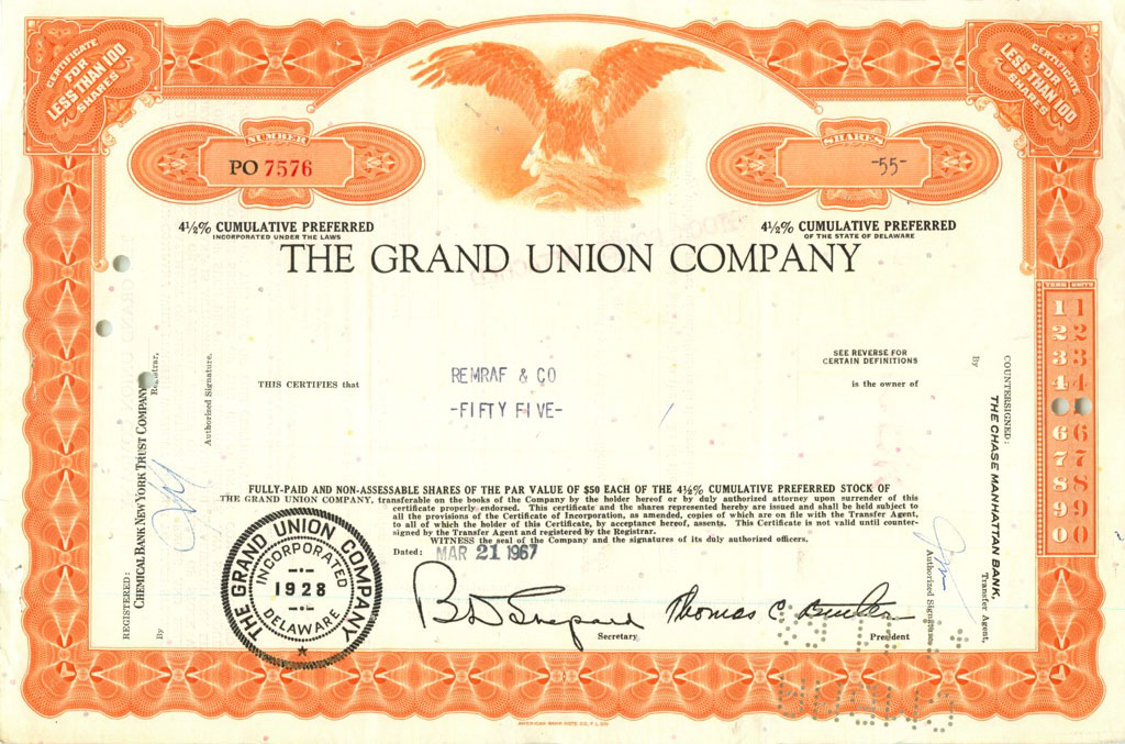 55 акций («The Grand Union Company») 1967 года (США)