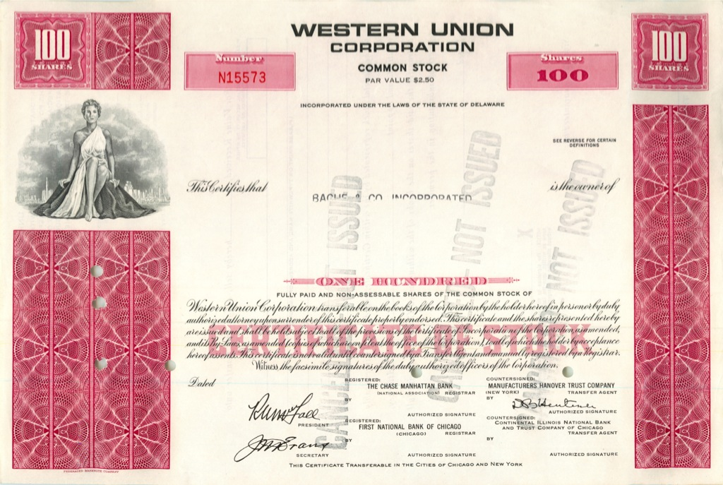 100 акций («Western Union Corporation») (США)