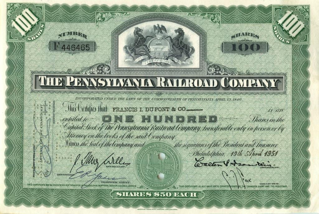 100 акций «The Pennsylvania Railroad Company» 1951 года (США)