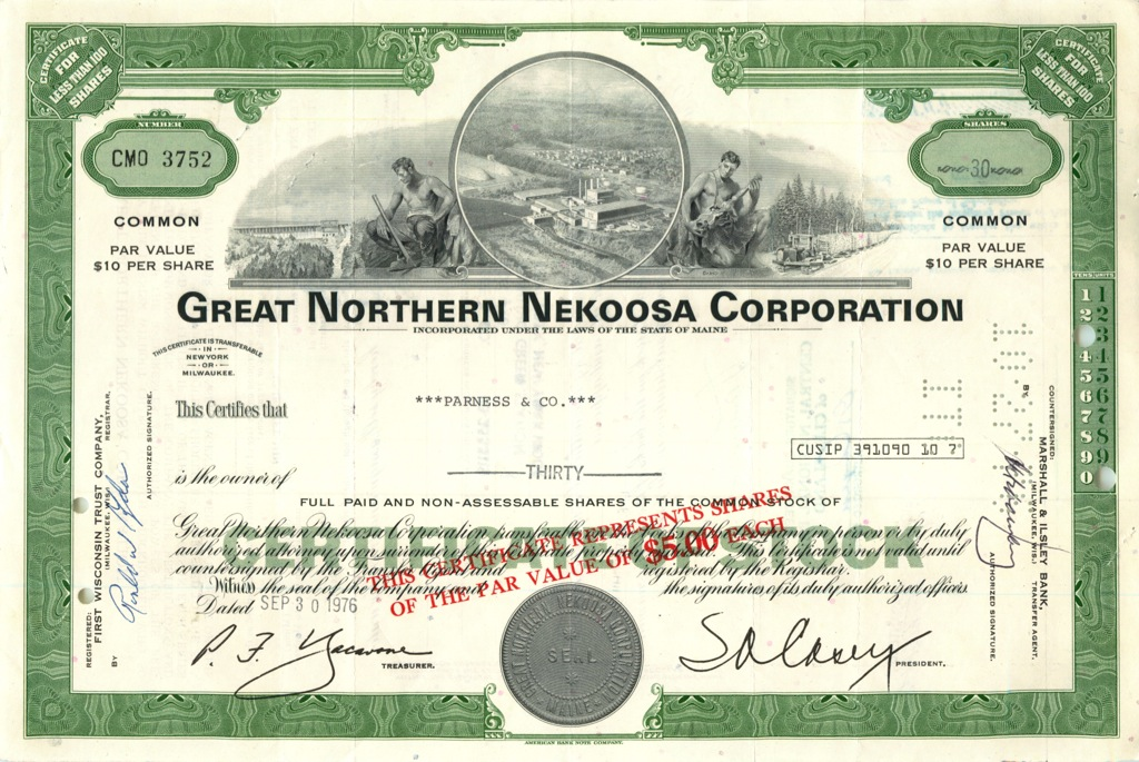30 акций «Great Northern Nekoosa Corporation» 1976 года (США)