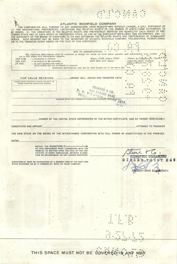 100 акций «Atlantic Richfield Company» 1968 года (США)