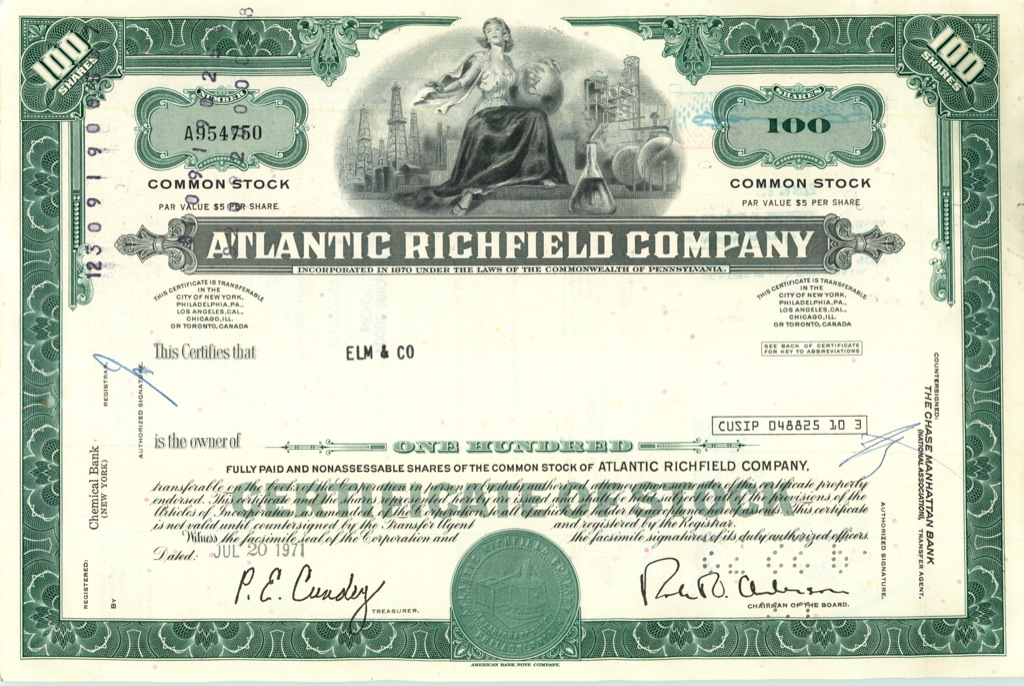 100 акций «Atlantic Richfield Company» 1971 года (США)