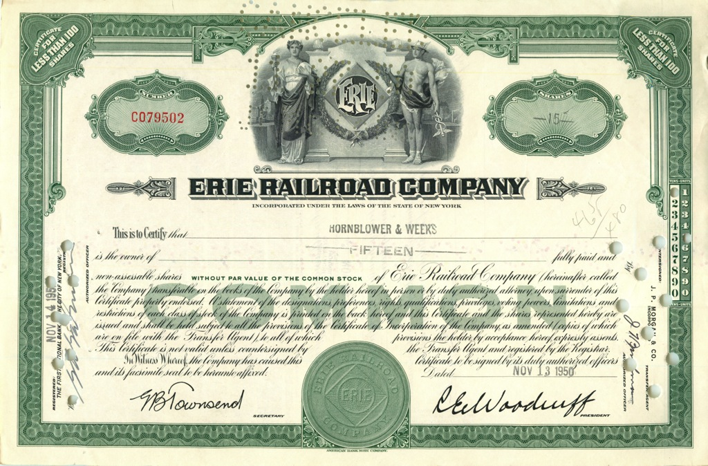 15 акций «Erie Railroad Company» 1950 года (США)