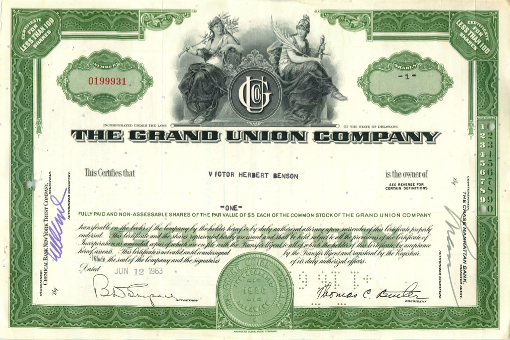 1 акция «The Grand Union Company» 1963 года (США)