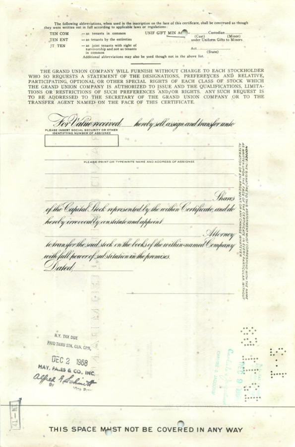 1 акция «The Grand Union Company» 1966 года (США)
