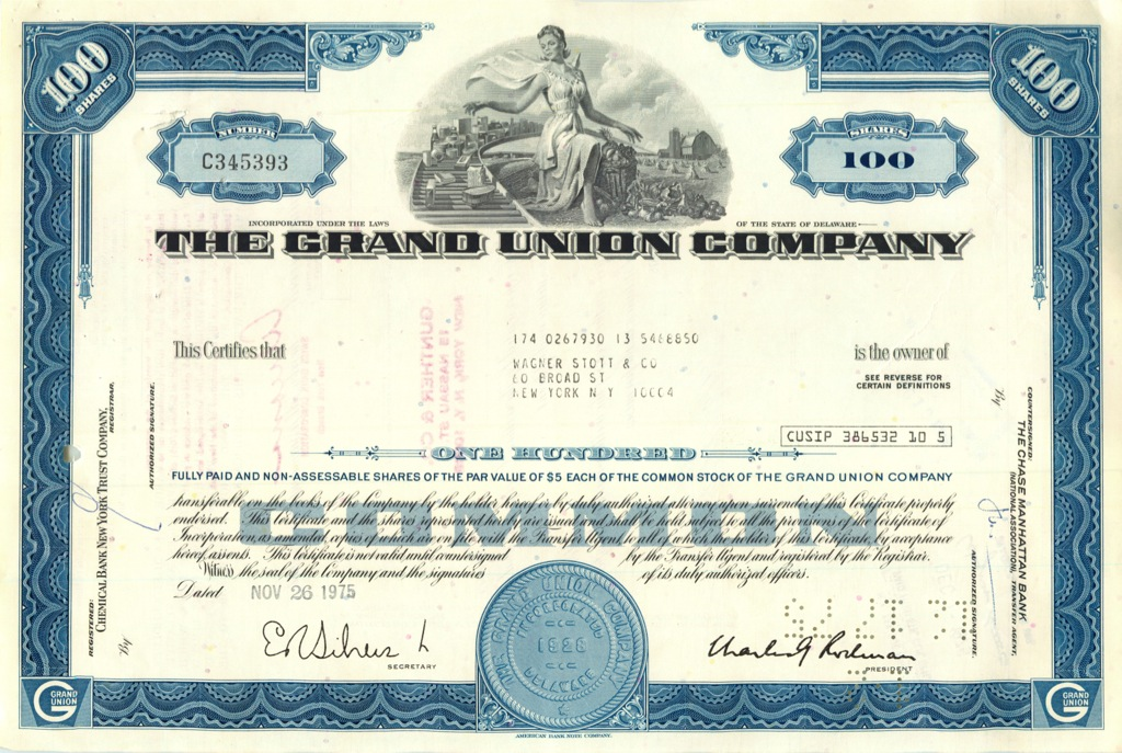 100 акций «The Grand Union Company» 1975 года (США)