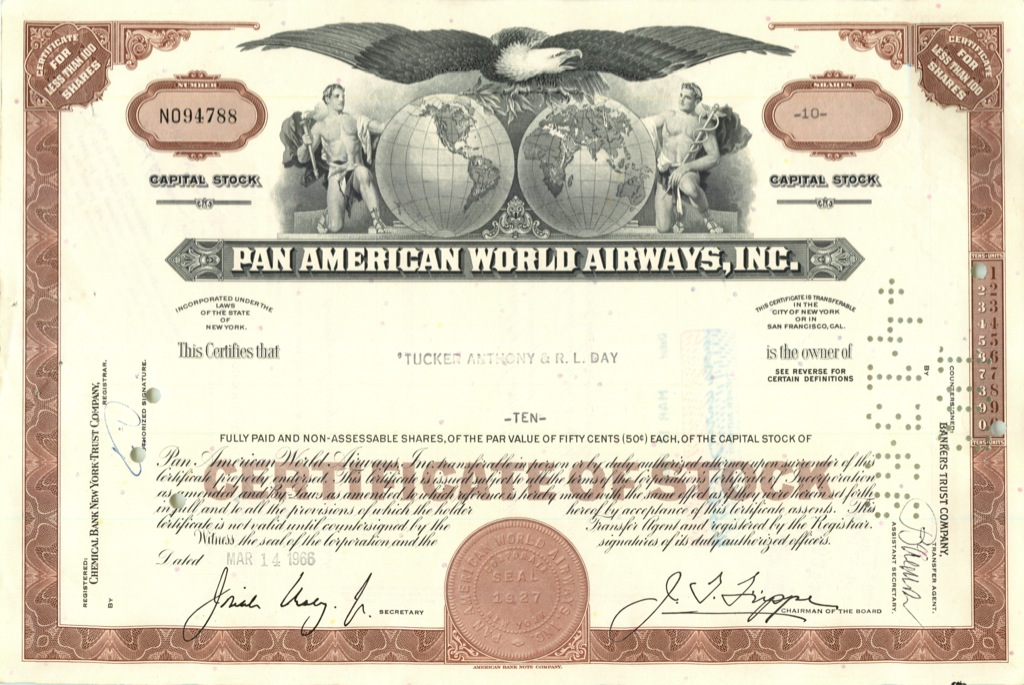 10 акций «Pan American World Airways, Inc» 1966 года (США)