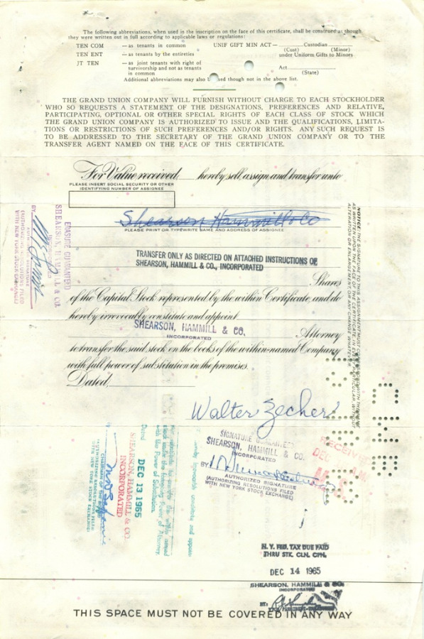 100 акций «The Grand Union Company» 1965 года (США)