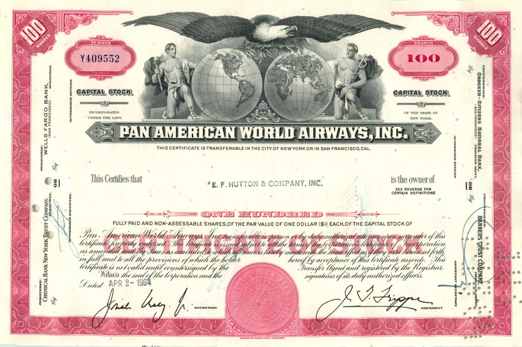 100 акций «Pan American World Airways, Inc» 1964 года (США)