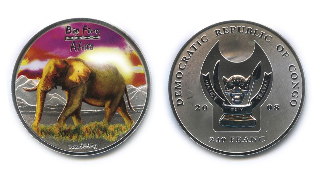 240 франков - Большая пятерка животных Африки - Слон, Республика Конго (вцвете, воригинальной коробке, ссертификатом) 2008 года