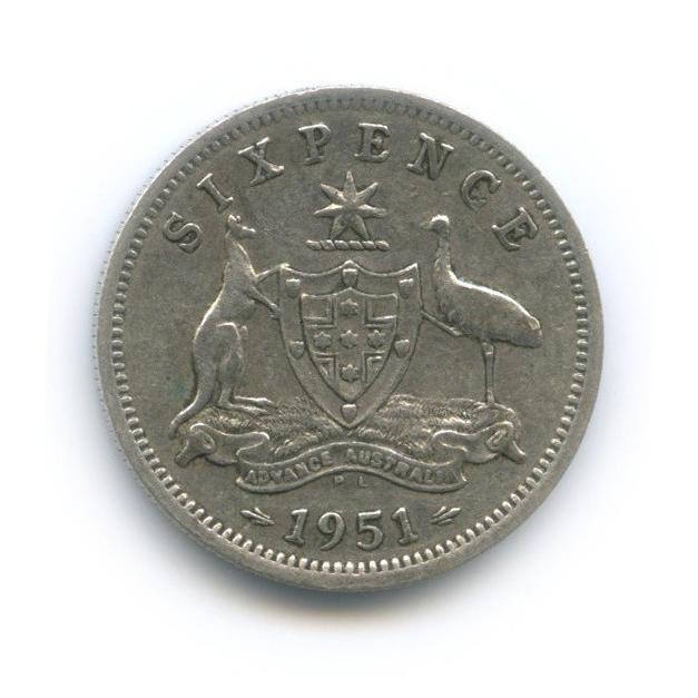 6 пенсов 1951 года PL (Австралия)