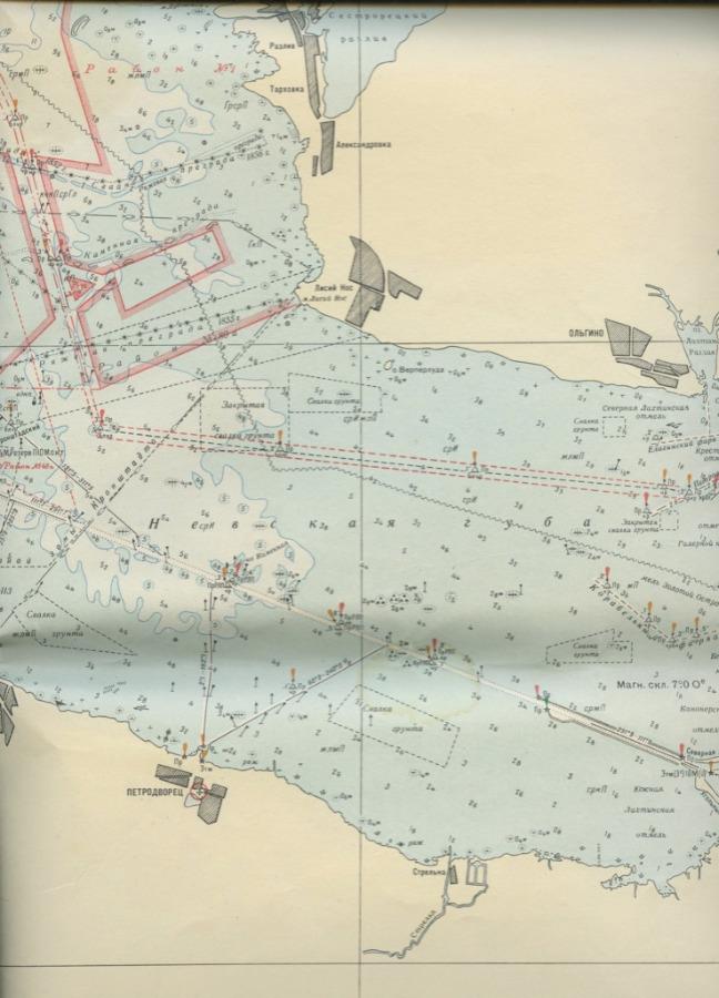 Карта «Балтийское море. Финский залив. ОтЛенинграда доОстрова Сескар», масштаб 1:100000, Издание Управления Гидрографической службы ВМФ 1961 года (СССР)