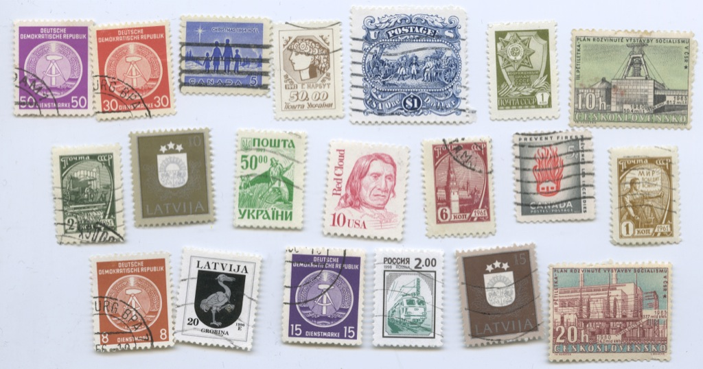 Набор почтовых марок (разные страны), 20 шт.