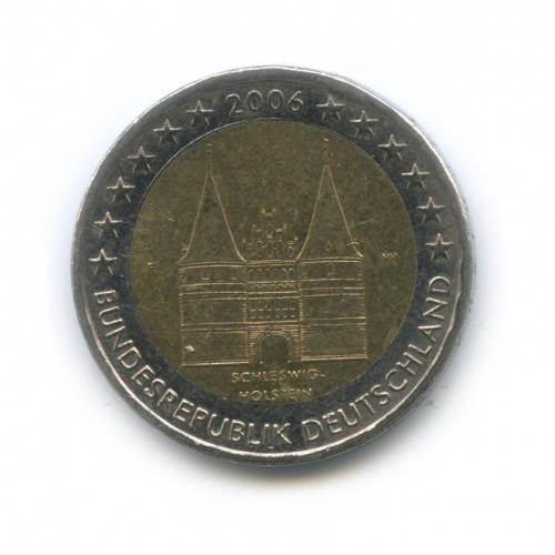 2 евро — Федеральные земли Германии - Голштинские ворота вЛюбеке, Шлезвиг-Гольштейн 2006 года F (Германия)