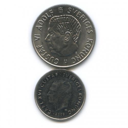 Набор монет 1 крона, 2 кроны 1971, 2009 (Швеция)