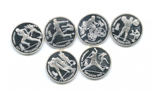 Набор жетонов «1 рубль 1991 - Олимпийские игры, Барселона-1992» (в оригинальном футляре)