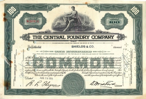 100 акций («The Central Foundry Company») 1954 года (США)