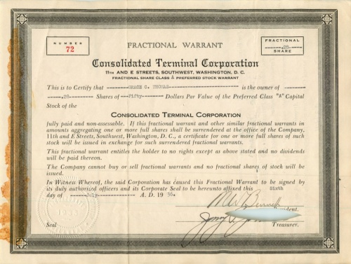 28 акций («Consolidated Terminal Corporation») 1936 года (США)